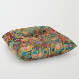 Dots on Painted and Gold Background Floor Pillow