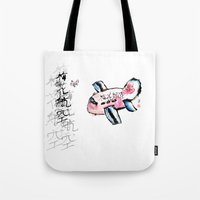 airplane Tote Bags featuring Airplane by Leo Wang