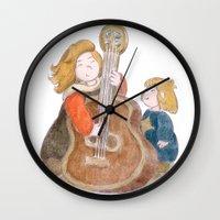 sisters Wall Clocks featuring Sisters by Pepijn de Jonge