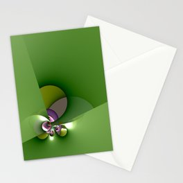 Abstract geometric round shapes on green Stationery Cards