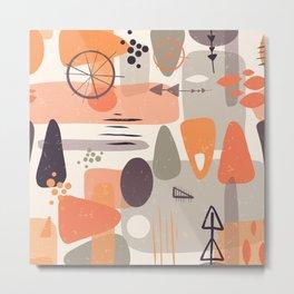 Mid Century Shapes Pattern Orange Metal Print