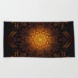 """Warm light Moroccan lantern Mandala"" Beach Towel"
