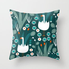 Flowers and two swans Throw Pillow