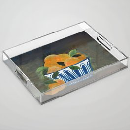 Still Life Oranges in Blue Bowl Acrylic Tray