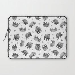 Rhino's Grazing - Black & White Laptop Sleeve
