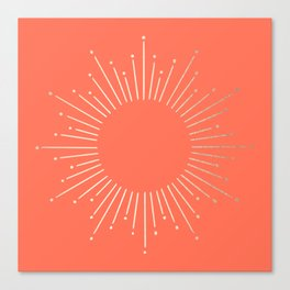 Simply Sunburst in Deep Coral Canvas Print