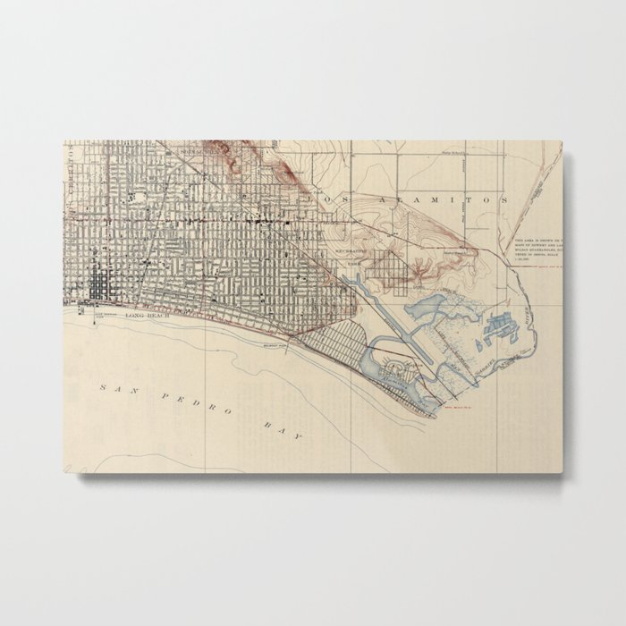 Vintage Map of Long Beach California (1923) Metal Print by bravuramedia