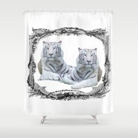 tigers Shower Curtains featuring White Tigers by haroulita