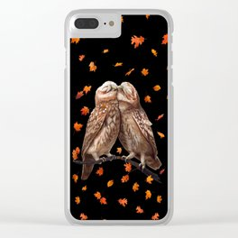 Autumn owls on black Clear iPhone Case