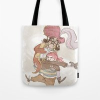 captain hook Tote Bags featuring Captain Hook by Samantha Kay Davies