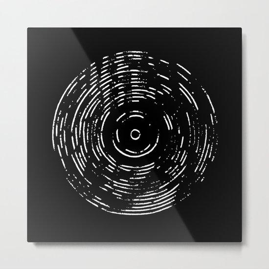 Record White on Black Metal Print