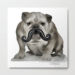 British Bulldog, British Moustache Metal Print