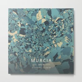 Murcia, Spain - Cream Blue Metal Print