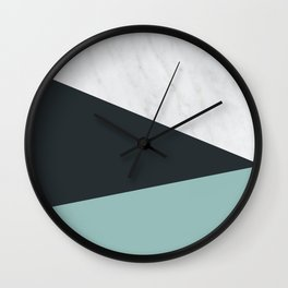 Marble, dark navy and turquoise Wall Clock