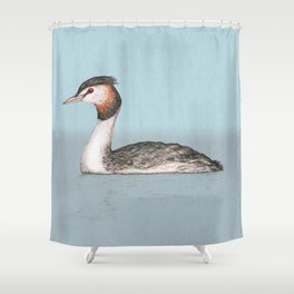 Great crested grebe pencildrawing Shower Curtain
