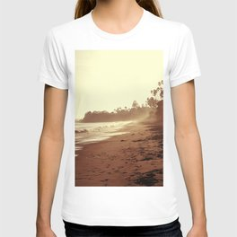 Vintage Retro Sepia Toned Coastal Beach Print T-shirt