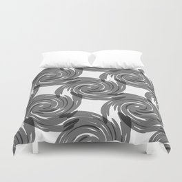 grey spirals on white background Duvet Cover