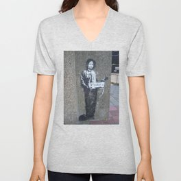 Banksy Hitchhiker to Anywhere Unisex V-Neck