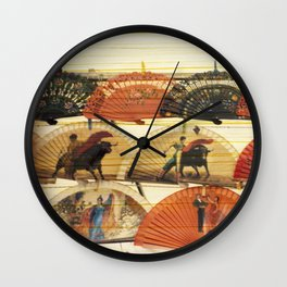 Spanish Scratched Fans Wall Clock