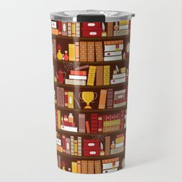 Book Case Pattern - Red and Gold Travel Mug