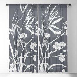 bamboo and plum flower white on black Sheer Curtain