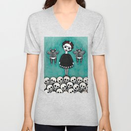 Day of the Dead Cats 8 Unisex V-Neck