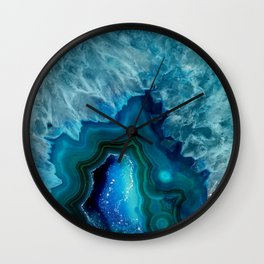 Teal Blue Agate Wall Clock