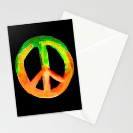 Green Orange Yellow Watercolor Tie Dye Peace Sign Stationery Cards