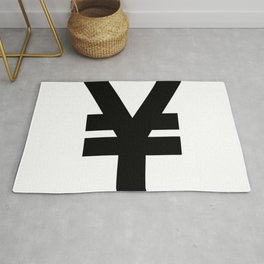 Yen Sign (Black & White) Rug