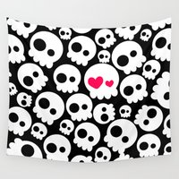 tomb raider Wall Tapestries featuring A skull in love by cafelab