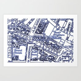 Blue Print Thoughts of Paris Art Print