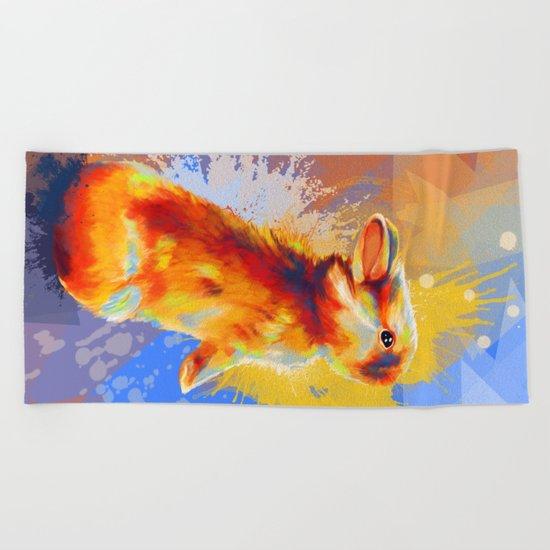 Colors of Fluff - Bunny portrait Beach Towel