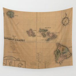 Vintage Map of Hawaii (1876) Wall Tapestry