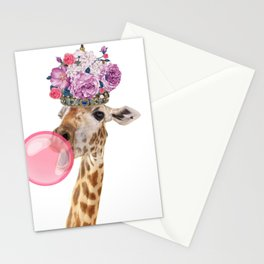 Giraffe in crown of flowers Stationery Cards