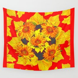 Red & Gold Leaves Sunflowers Pattern Art Wall Tapestry