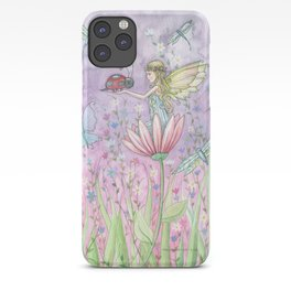 A Friendly Encounter Fairy and Ladybug Art by Molly Harrison iPhone Case