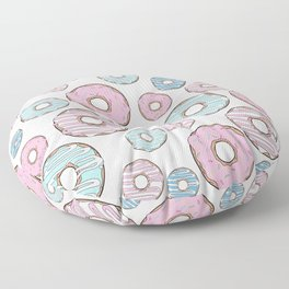 Pattern Of Donuts, Pink Donuts, Blue Donuts Floor Pillow