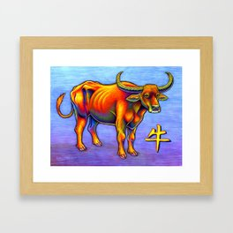 Chinese Zodiac Year of the Ox Colorful Bull Framed Art Print