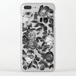 Black and White Victorian Roses Clear iPhone Case