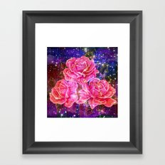 Roses with sparkles and purple infusion Framed Art Print