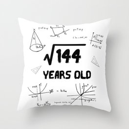 Square Root Of 144 12th Birthday Throw Pillow