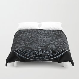 Northern Hemisphere Constellations White Blue Duvet Cover
