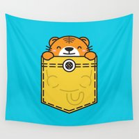 pocket Wall Tapestries featuring Pocket Tiger by Steven Toang