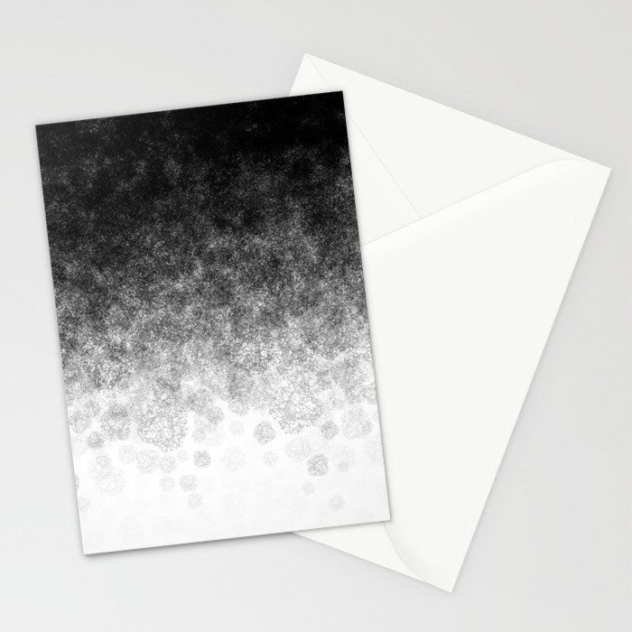 Disappearing Fog - Black and White Gradient Stationery Cards