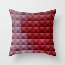 Falu Red Abstract Low Polygon Background Throw Pillow
