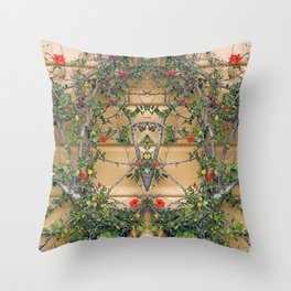 Red flowers on the yellow wall Throw Pillow