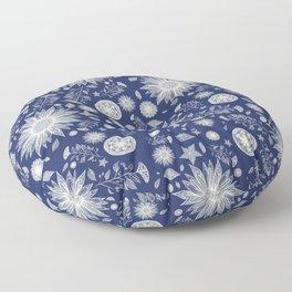 Beautiful Flowers in Navy Vintage Floral Design Floor Pillow