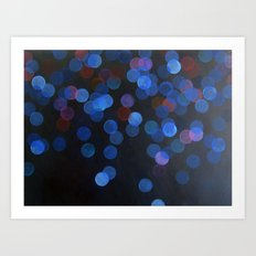 No. 45 - Print of Deep Blue Bokeh Inspired Modern Abstract Painting  Art Print