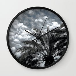 Tropical Island Palm Trees Upshot Framed By Clouds Wall Clock