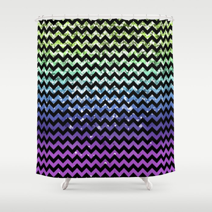 Glitter Chevron Variations III Shower Curtain
